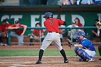 Maiker Feliz (7) of the Great Falls Voyagers bats against the Ogden Raptors at Lindquist Field on August 21, 2018 in Ogden, Utah. Great Falls defeated Ogden 14-5. (Stephen Smith/Four Seam Images)