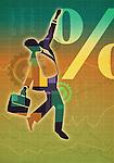 Illustrative image of businessman walking on line graph representing risk
