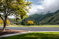 At a quaint rest stop in the Eastern Oregon mountains on a beautiful day, as the clouds rolls over the hillside.