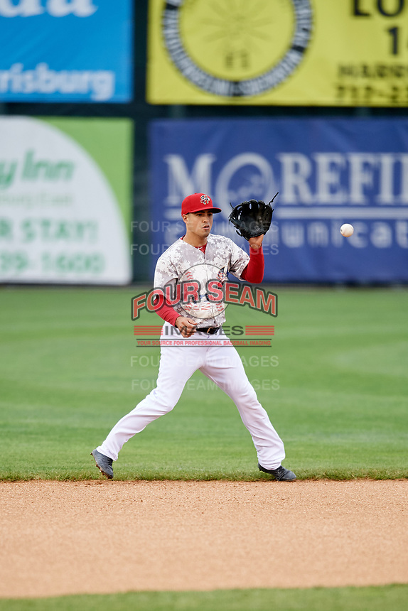 Harrisburg Senators shortstop Stephen Perez (13) fields a ball during the second game of a doubleheader against the New Hampshire Fisher Cats on May 13, 2018 at FNB Field in Harrisburg, Pennsylvania.  Harrisburg defeated New Hampshire 2-1.  (Mike Janes/Four Seam Images)