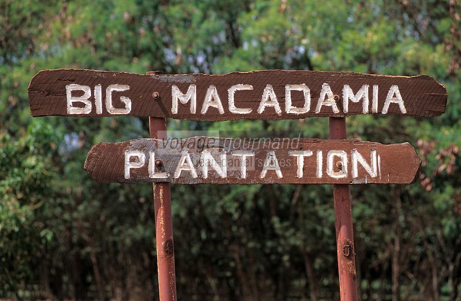 Océanie/Australie/Queensland/Env. de Mareeba: Panneau de plantation de noix de macadam avec lesquelles on fabrique de l'huile de couleur jaune d'or