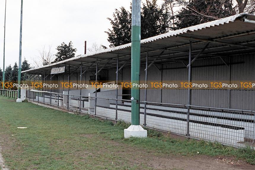 The main stand at Hoddesdon Town Football Club, Lowfield