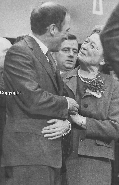 1968 FILE PHOTO -<br /> <br /> Warm congratulations and a victory hug from Mrs. Pearson came moments after Pierre Elliott Trudeau was elected leader of the Liberal Party and successor to her husband as Prime Minister of Canada.