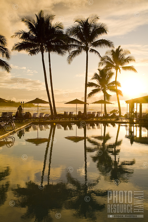 Poolside sunset at an oceanfront resort lined with palm trees and tropical plants