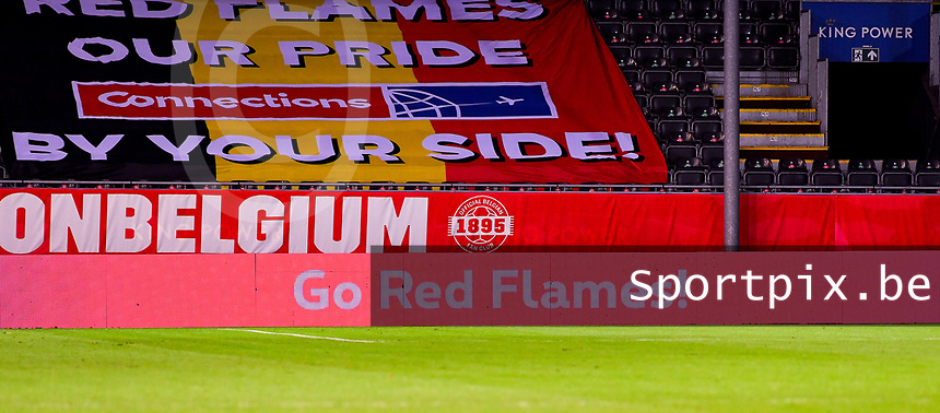 banner Go Red Flames pictured during a female soccer game between the national teams of Belgium , called the Red Flames and Switzerland on the 8 th and last matchday in group H for the qualification for the Womens EURO 2022 in England , on Tuesday 1 th of December 2020  in Leuven , Belgium . PHOTO SPORTPIX.BE | SPP | DAVID CATRY