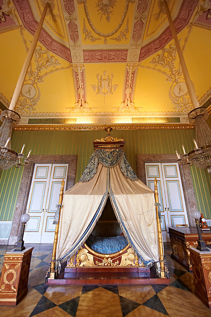 """""""The bedroom of Joachim Murat""""  is decorated in the Empire style and comes from the Royal Palace of Portici, the favourite palace of  Joachim Murat and Caroline Bonaparte. The bed is mahogany designed by French Architedt Leconte.   The Bourbon Kings of Naples Royal Palace of Caserta, Italy."""