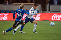 SAN JOSE, CA - MAY 01: Cade Cowell #44 of the San Jose Earthquakes chases Julian Gressel #31 of DC United during a game between San Jose Earthquakes and D.C. United at PayPal Park on May 01, 2021 in San Jose, California.