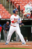 Buffalo Bisons third baseman Andy LaRoche (17) at bat during a game against the Gwinnett Braves on May 13, 2014 at Coca-Cola Field in Buffalo, New  York.  Gwinnett defeated Buffalo 3-2.  (Mike Janes/Four Seam Images)