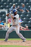 St. Lucie Mets shortstop Amed Rosario (11) at bat during a game against the Fort Myers Miracle on April 19, 2015 at Hammond Stadium in Fort Myers, Florida.  Fort Myers defeated St. Lucie 3-2 in eleven innings.  (Mike Janes/Four Seam Images)