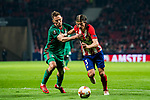 Filipe Luis (R) of Atletico de Madrid fights for the ball with Maciej Rybus of FC Lokomotiv Moscow during the UEFA Europa League 2017-18 Round of 16 (1st leg) match between Atletico de Madrid and FC Lokomotiv Moscow at Wanda Metropolitano  on March 08 2018 in Madrid, Spain. Photo by Diego Souto / Power Sport Images