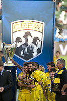 MLS Cup trophy and Columbus Crew teammates Guillermo Barros Schelotto and Frankie Hejduk during MLS Cup 2008. Columbus Crew defeated the New York Red Bulls, 3-1, Sunday, November 23, 2008. Photo by John Todd/isiphotos.com