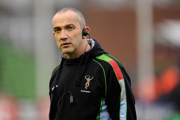 Conor O'Shea, Harlequins Director of Rugby, looks on during the Heineken Cup match between Harlequins and Racing Metro 92 at the Twickenham Stoop on Sunday 15th December 2013 (Photo by Rob Munro)