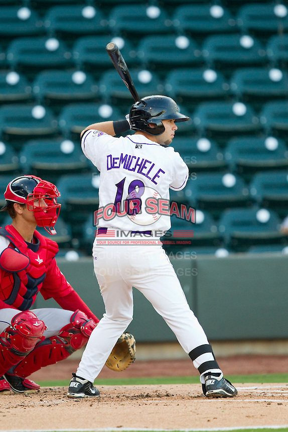 Joey DeMichele (18) of the Winston-Salem Dash at bat against the Salem Red Sox at BB&T Ballpark on August 15, 2013 in Winston-Salem, North Carolina.  The Red Sox defeated the Dash 2-1.  (Brian Westerholt/Four Seam Images)