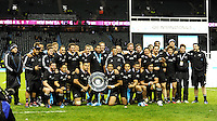 New Zealand win the Sir Edmund Hillary Shield during the QBE Autumn International match between England and New Zealand at Twickenham on Saturday 16th November 2013 (Photo by Rob Munro)