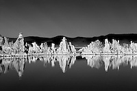 Tufa and reflections in Mono Lake, California