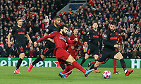 Liverpool's Sadio Mane shoots from close range despite the attentions of Atletico Madrid's Felipe<br /> <br /> Photographer Rich Linley/CameraSport<br /> <br /> UEFA Champions League Round of 16 Second Leg - Liverpool v Atletico Madrid - Wednesday 11th March 2020 - Anfield - Liverpool<br />  <br /> World Copyright © 2020 CameraSport. All rights reserved. 43 Linden Ave. Countesthorpe. Leicester. England. LE8 5PG - Tel: +44 (0) 116 277 4147 - admin@camerasport.com - www.camerasport.com