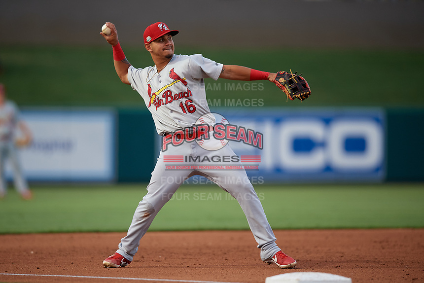Palm Beach Cardinals third baseman Yariel Gonzalez (16) throws to first base during a Florida State League game against the Lakeland Flying Tigers on April 17, 2019 at Publix Field at Joker Marchant Stadium in Lakeland, Florida.  Lakeland defeated Palm Beach 1-0.  (Mike Janes/Four Seam Images)