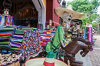 Catrina Skeleton Riding a Horse, Entrance to a Souvenir Store.  Playa del Carmen, Yucatan, Mexico.