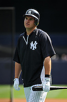 New York Yankees infielder Brandon Laird #56 during a game against the Baltimore Orioles at Yankee Stadium on September 5, 2011 in Bronx, NY.  Yankees defeated Orioles 11-10.  Tomasso DeRosa/Four Seam Images