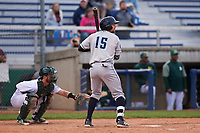 Lake County Captains second baseman Daniel Schneemann (15) during a Midwest League game against the Beloit Snappers at Pohlman Field on May 6, 2019 in Beloit, Wisconsin. Lake County defeated Beloit 9-1. (Zachary Lucy/Four Seam Images)