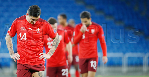 14th November 2020; St.Jakob Park, Basel, Switzerland; Nations League International Football, Switzerland versus Spain; Steven Zuber and Ricardo Rodriguez of Switzerland look down as they concede a penalty kick to Spain