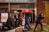 17th February 2021, Oakwell Stadium, Barnsley, Yorkshire, England; English Football League Championship Football, Barnsley FC versus Blackburn Rovers; Managers touchline emotions