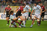 20121020 Copyright onEdition 2012©.Free for editorial use image, please credit: onEdition..Brad Barritt of Saracens is tackled by Dimitri Szarzewski of Racing Metro 92 during the Heineken Cup Round 2 match between Saracens and Racing Metro 92 at the King Baudouin Stadium, Brussels on Saturday 20th October 2012 (Photo by Rob Munro)..For press contacts contact: Sam Feasey at brandRapport on M: +44 (0)7717 757114 E: SFeasey@brand-rapport.com..If you require a higher resolution image or you have any other onEdition photographic enquiries, please contact onEdition on 0845 900 2 900 or email info@onEdition.com.This image is copyright the onEdition 2012©..This image has been supplied by onEdition and must be credited onEdition. The author is asserting his full Moral rights in relation to the publication of this image. Rights for onward transmission of any image or file is not granted or implied. Changing or deleting Copyright information is illegal as specified in the Copyright, Design and Patents Act 1988. If you are in any way unsure of your right to publish this image please contact onEdition on 0845 900 2 900 or email info@onEdition.com