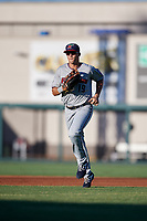 Fort Myers Miracle right fielder Alex Kirilloff (19) jogs back to the dugout during a game against the Lakeland Flying Tigers on August 7, 2018 at Publix Field at Joker Marchant Stadium in Lakeland, Florida.  Fort Myers defeated Lakeland 5-0.  (Mike Janes/Four Seam Images)
