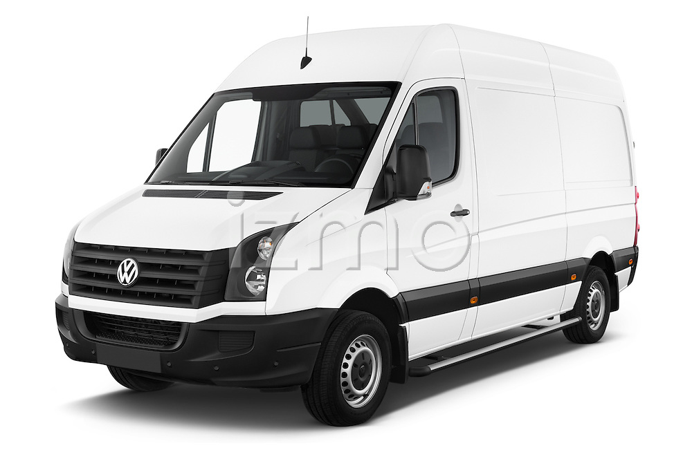 2014 Volkswagen CRAFTER 2.0TDI 4 Door Cargo Van Angular Front stock photos of front three quarter view