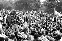 June 1976 File Photo - Montreal, Quebec - More than 100 000 people attend the Quebec National holliday (Saint-Jean Baptiste) held on Mont-Royal's Lac-des-Castors from June 23 to 25, 1976