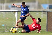 BRADENTON, FL - JANUARY 23: Aaron Herrera, Sebastian Lletget battle for a ball during a training session at IMG Academy on January 23, 2021 in Bradenton, Florida.