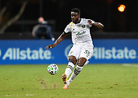 LAKE BUENA VISTA, FL - AUGUST 01: Larrys Mabiala #33 of the Portland Timbers passes the ball during a game between Portland Timbers and New York City FC at ESPN Wide World of Sports on August 01, 2020 in Lake Buena Vista, Florida.
