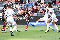 10th February 2021; Bankwest Stadium, Parramatta, New South Wales, Australia; A League Football, Western Sydney Wanderers versus Melbourne Victory; Daniel Georgievski of Western Sydney Wanderers takes a shot from the edge of the area