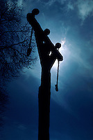 Silhouette of gallows at night, Montcornet, Ardennes, France.