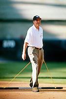 Walt Disney CEO Michael Eisner of the Anaheim Angels during a game at Anaheim Stadium in Anaheim, California during the 1997 season.(Larry Goren/Four Seam Images)