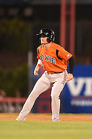 Bowie Baysox second baseman Buck Britton (5) leads off second during a game against the Binghamton Mets on August 3, 2014 at NYSEG Stadium in Binghamton, New York.  Bowie defeated Binghamton 8-2.  (Mike Janes/Four Seam Images)