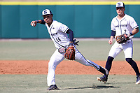 CARY, NC - FEBRUARY 23: Mac Hippenhammer #14 of Penn State University fields a bunt during a game between Wagner and Penn State at Coleman Field at USA Baseball National Training Complex on February 23, 2020 in Cary, North Carolina.