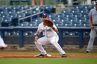 Charlotte Stone Crabs first baseman Nathaniel Lowe (7) waits to receive a throw during the first game of a doubleheader against the Tampa Yankees on July 18, 2017 at Charlotte Sports Park in Port Charlotte, Florida.  Charlotte defeated Tampa 7-0 in a game that was originally started on June 29th but called to inclement weather.  (Mike Janes/Four Seam Images)