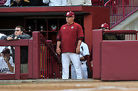 Head coach Chad Holbrook (2) of the South Carolina Gamecocks in a game against the Coastal Carolina Chanticleers on Tuesday, April 5, 2016, at Founders Park in Columbia, South Carolina. South Carolina won, 4-2. (Tom Priddy/Four Seam Images)