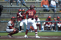 Tanner Thomas (23) of the Virginia Tech Hokies at bat against the Boston College Eagles at English Field on April 3, 2021 in Blacksburg, Virginia. (Brian Westerholt/Four Seam Images)