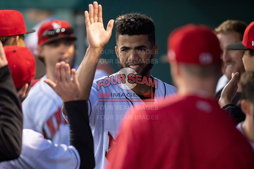 Indianapolis Indians starting pitcher Dario Agrazal (22) is congratulated by teammates after being relieved after making his Triple-A debut during an International League game against the Columbus Clippers on April 29, 2019 at Victory Field in Indianapolis, Indiana. Indianapolis defeated Columbus 5-3. (Zachary Lucy/Four Seam Images)