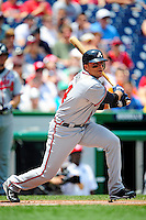 4 July 2009: Atlanta Braves' first baseman Martin Prado in action against the Washington Nationals at Nationals Park in Washington, DC. The Nationals defeated the Braves 5-3 to take the second game of the 3-game weekend series. Mandatory Credit: Ed Wolfstein Photo