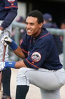 Binghamton Mets Carlos Gomez during an Eastern League game at Jerry Uht Park on April 29, 2006 in Erie, Pennsylvania.  (Mike Janes/Four Seam Images)