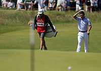 16th July 2021; Royal St Georges Golf Club, Sandwich, Kent, England; The Open Championship Tour Golf, Day Two; Collin Morikawa (USA) remove his hat as he arrives at the 15th green