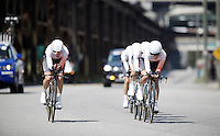 Rabobank-Liv Woman Cycling Team at work<br /> <br /> Elite Men's Team Time Trial<br /> UCI Road World Championships Richmond 2015 / USA