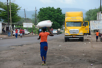 SAMBIA, Sinazongwe District, town Sinazese, main road, trucks transport coal from Collum coal mine