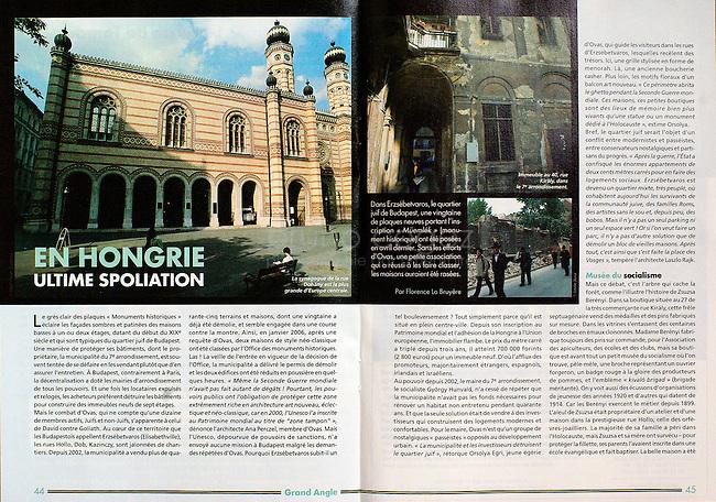 Tribune Juive (French jewish magazine)..2007/06..Destruction of the old jewish quater in Budapest..Photos: Martin Fejer