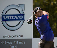 17.10.2014. The London Golf Club, Ash, England. The Volvo World Match Play Golf Championship.  Day 3 group stage matches.  Patrick Reed [USA] tee shot 3rd hole.