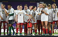 Orlando, FL - Saturday October 14, 2017: Portland Thorns FC celebrate their National Women's Soccer League (NWSL) Championship win by defeating North Carolina Courage 1-0 during the NWSL Championship match between the North Carolina Courage and the Portland Thorns FC at Orlando City Stadium.