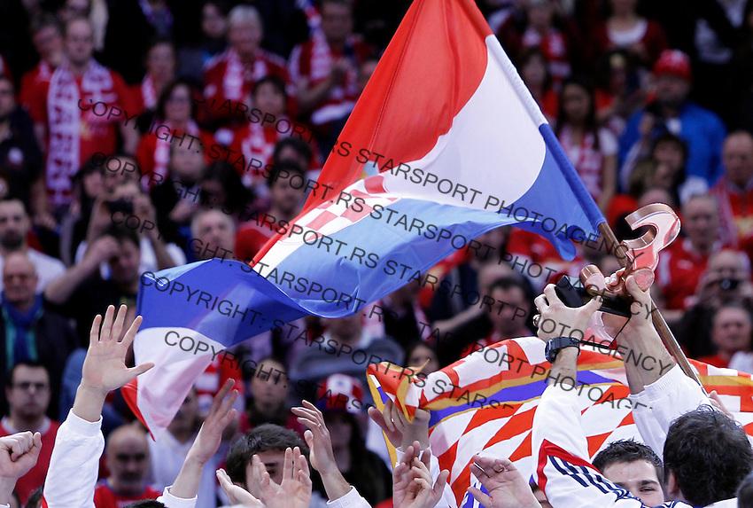 Third placed Croatian players celebrate after men`s EHF EURO 2012 handball championship  in Belgrade, Serbia, Sunday, January 29, 2011.  (photo: Pedja Milosavljevic / thepedja@gmail.com / +381641260959)
